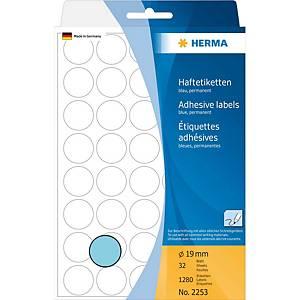 Étiquettes multi-usages HERMA 2253, 19 mm, rondes, bleu, paq. 1280unités