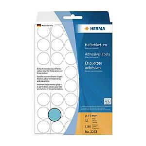 Herma 2253 Round Label 19mm Blue - Box of 1280