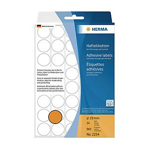 HERMA 顏色標籤圓形 2254 19毫米 螢光橙色 每盒960個標籤