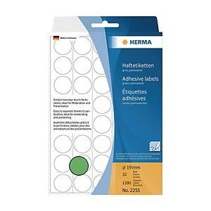 HERMA 顏色標籤圓形 2255 19毫米 綠色 每盒1280個標籤