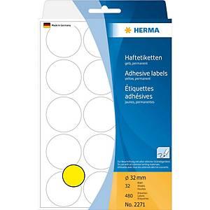 Étiquettes multi-usages HERMA 2271, 32 mm, rondes, jaune, paq. 480unités