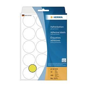 Herma 2271 Round Label 32mm Yellow - Box of 480