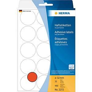 Étiquettes multi-usages HERMA 2272, 32 mm, rondes, rouge, paq. 480unités