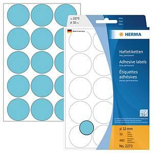 Markierungspunkte Herma 2273, Ø 32mm, blau, 480 Stück
