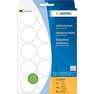 Étiquettes multi-usages HERMA 2275, 32 mm, rondes, vert, paq. 480unités