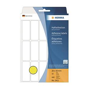 Herma 2411 Colour Label 20 x 50mm Yellow - Box of 480