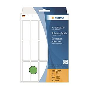 HERMA 顏色標籤長方形 2415 20 x 50毫米 綠色 每盒480個標籤
