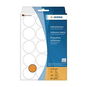 HERMA 顏色標籤圓形 2274 32毫米 螢光橙色 每盒360個標籤