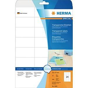 Étiquettes transparentes Herma 4685, 70 x 37 mm, les 600