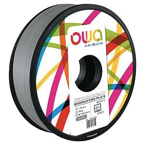 Filament 3D PLA Owa 1,75mm 750 grammes gris