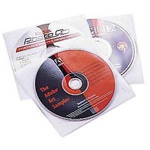 Pochette CD/DVD Durable pour 1 CD, blanc/transparent, emb. de 10 pièces