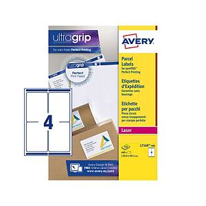 Caixa de 400 etiquetas de adesivas Avery - L7169-100 - 99,1x139 mm - branco