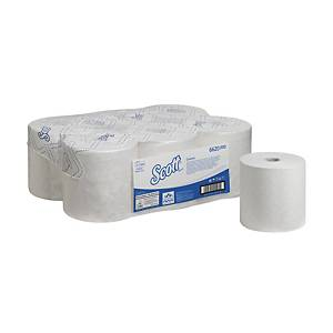 Scott Control Rolled Hand Towels 6620 - 6 x 250m white, 1 ply rolls