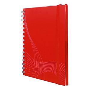Zápisník Notizio, A5, štvorčekový, s tvrdým obalom, 180 strán, červený
