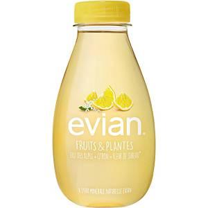 Eau Evian Fruits & plantes citron et fleur de sureau, les 12 bouteilles de 37 cl