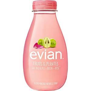 Eau Evian Fruits & plantes raisins et roses, le paquet de 12 bouteilles de 37 cl