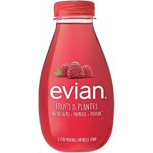 Evian Fruits & plantes framboos en verveine water, pak van 12 flesjes van 37 cl