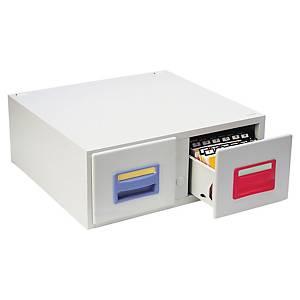 Boîte Rexel pour fiches 10,5 x 14,8 cm - 2 tiroirs - 2000 fiches - grise