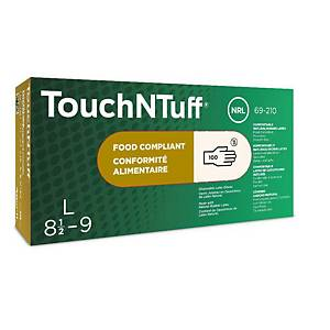 Ansell TouchNTuff® 69-210 disposable lates gloves, size 6.5-7, 100 pieces