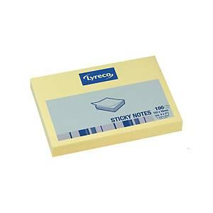 Lyreco selbstklebende Haftnotizen gelb 76 x 102 mm, 1 Block/Packung