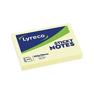Notes repositionnables Lyreco - 76 x 102 mm - jaunes - bloc x 100 feuilles