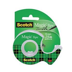 Ruban adhésif Scotch Magic 810, Ø du noyau 2,5 cm, 19 mm x 7,5 m, avec dérouleur