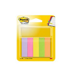 Marque-pages Post-it® 670/5, 5 couleurs fluo, 15 x 50 mm, l'ensemble