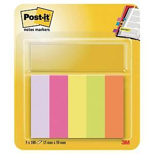 Marque-pages Post-it - papier - 15 mm - néon - 5 x 100 feuilles
