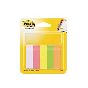 Post-It Note Page Markers 15x50mm Neon 5 Pads