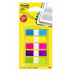 Post-it® Index 6835CB portable, distributeur 5 couleurs, 12 x 44 mm, la pièce