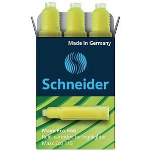 Nachfüllpatrone Schneider 666, für Maxx + Brillant + Job, gelb, 3 Stück