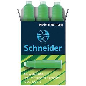 Nachfüllpatrone Schneider 666, für Maxx + Brillant + Job, grün, 3 Stück