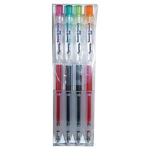 Pochette de 4 stylo gel Lyreco rétractable - coloris assortis