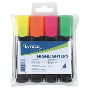 Surligneur Lyreco, couleurs assorties, étui de 4 surligneurs