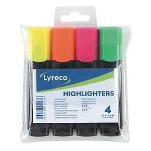 ลีเรคโก ปากกาเน้นข้อความ คละสี(เหลือง ส้ม ชมพู เขียว) แพ็ค4