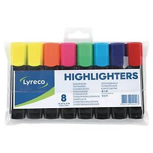 Surligneur Lyreco, couleurs assorties, étui de 8 surligneurs