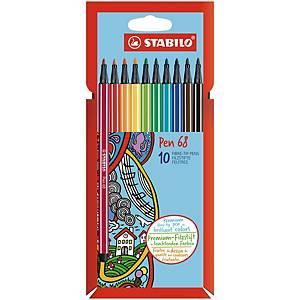 Stabilo Pen 68 Filzstifte, Spitzenstärke 1 mm, Farbenmix, 10 Stück/Packung