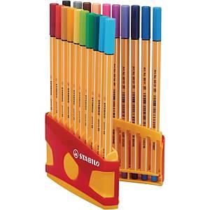 Fineliner Stabilo® point 88, pointe fine, couleurs assorties, les 20 fineliners
