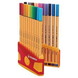 Pack de 20 marcadores Stabilo Point 88 - sortido