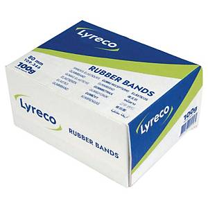 LYRECO RUBBER BANDS 2 X 80MM - BOX OF 100G