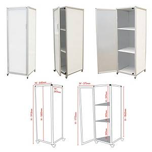 Mobile Magnetic Whiteboard Cube On Heavy Duty Wheels With 2 Shelves - 58X170cm
