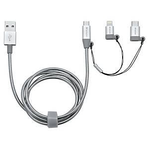 Cabo 3 em 1 Verbatim - USB-C/Lightning/USB Micro B