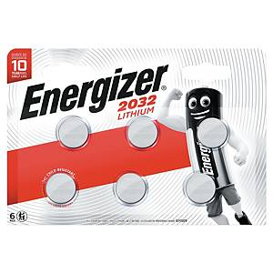 Knappcellebatterier Energizer Lithium CR2032, 3V, pakke à 6 stk.