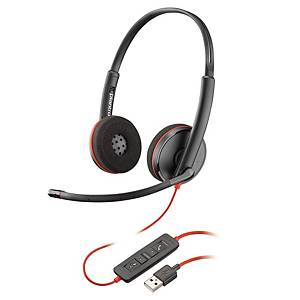 Casque Plantronics Blackwire 3220, Dou/Stereo, USB, noir