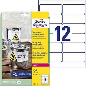 Étiquettes Avery Zweckform L4776,99,1 x 42,3mm, résist. à l eau, blc, 240unités