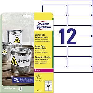 Vysoce odolné polyesterové etikety Avery Zweckform L4776-20, 99,1x42,3 mm, bílé