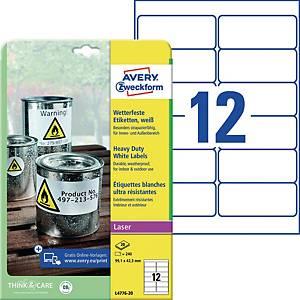 Wetterfeste Etiketten Avery Zweckform L4776-20, 99,1x42,3mm (LxB), weiß, 240 St.
