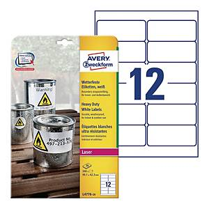 Avery L4776-20 Resistant Labels, 99.1 x 42.3 mm, 12 Labels Per Sheet, 240