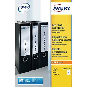 Avery L4761-25 Filing Labels, 192 x 61mm, 4 labels per sheet