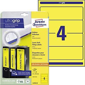 Etikety na pořadače Avery Zweckform, 192 x 61 mm, žluté, 80 ks/bal